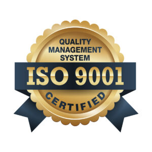 ISO 9001 conformity to standards icon - golden medal award with international quality management system guarantee emblem - isolated vector
